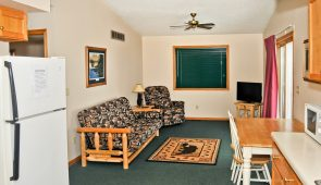 Cabin 1 Living Room at Nitti's Hunters Point Resort