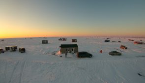 Drone View of Mille Lacs Lake Ice Fishing