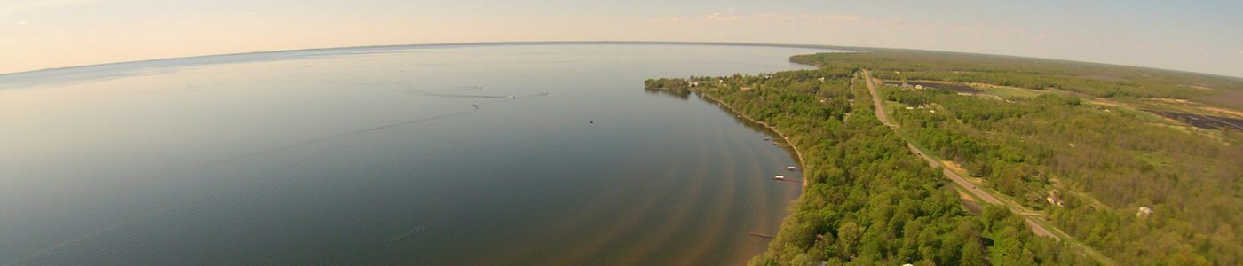 drone picture of mille lacs lake shore