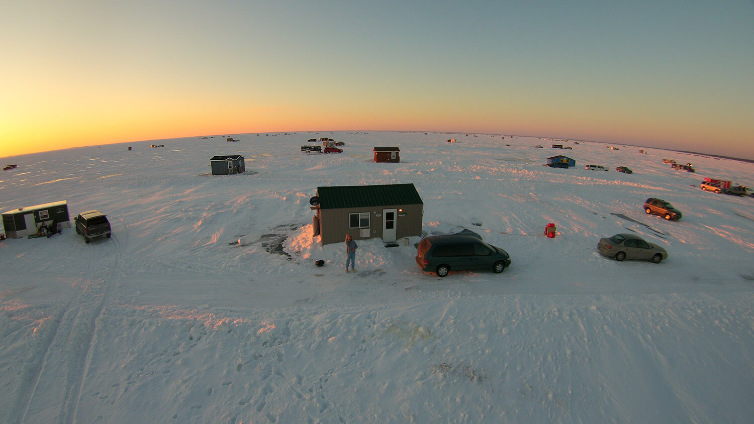 Ice Fishing Hut on Mille Lacs Lake
