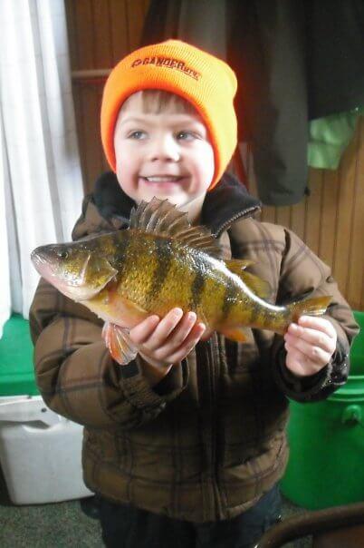 little perch fisherman on lake mille lacs